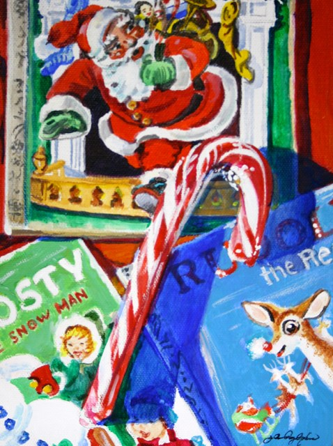 """Vintage Stories and Candy Cane"" original fine art by JoAnne Perez Robinson"