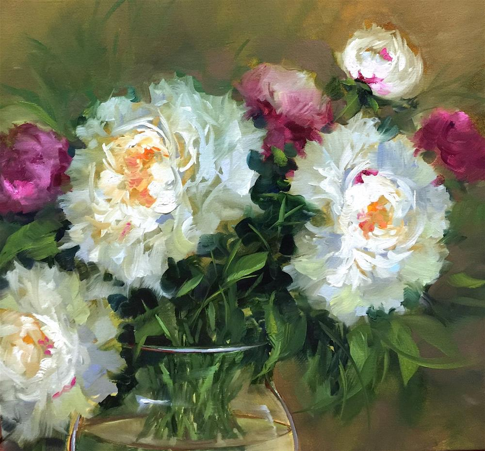 """BumbleBee Nectar White Peonies - Nancy Medina Art Videos and Classes"" original fine art by Nancy Medina"