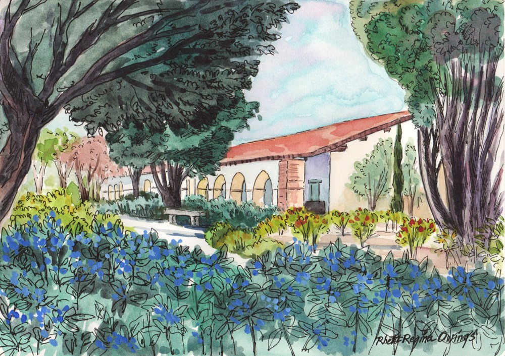 """Blue Flowers at Mission San Juan Bautista"" original fine art by Rhett Regina Owings"
