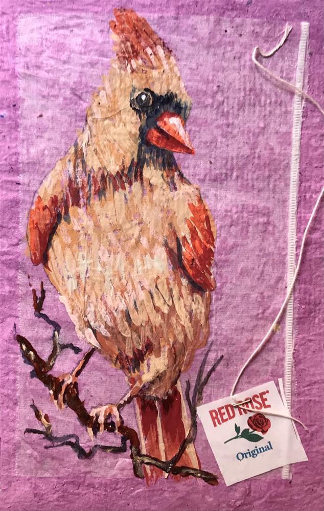 """""""Lady Red Bird"""" original fine art by Linda Blondheim"""