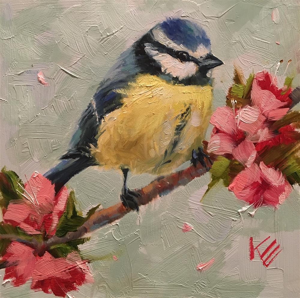 """Little Blue and Blossoms"" original fine art by Krista Eaton"