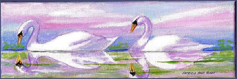 """Gliding Swans"" original fine art by Patricia Ann Rizzo"
