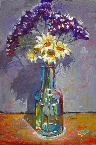 """Gazanias and Statice in a Bottle"" original fine art by Raymond Logan"