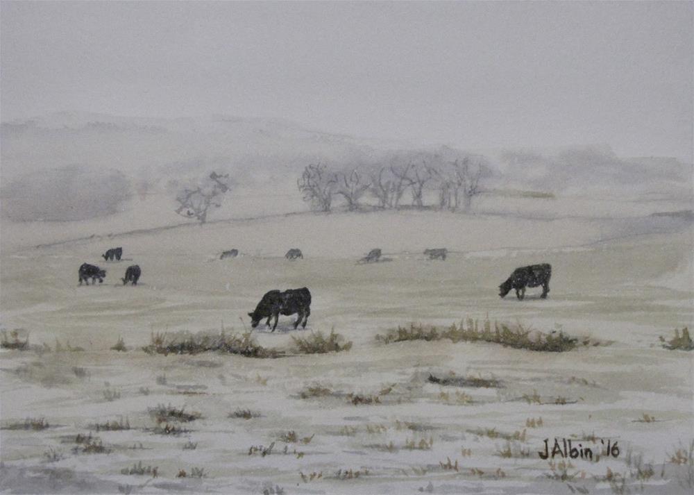 """""""Snowy Cattle Powder River, MT"""" original fine art by Jane Albin"""