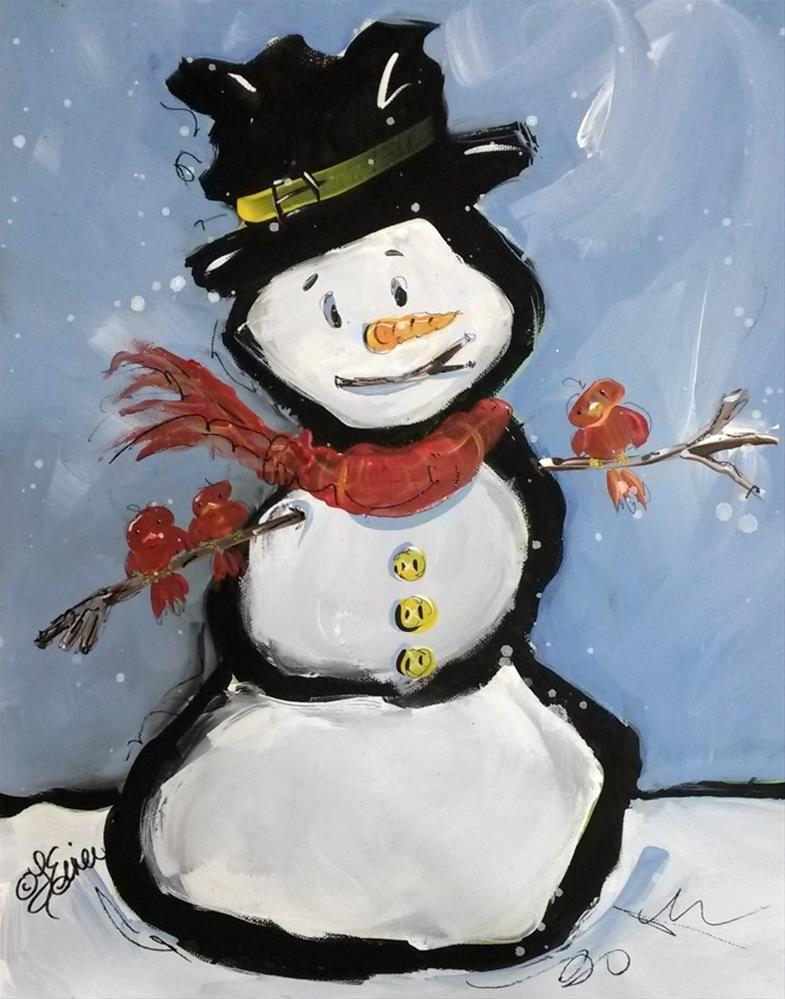 """""""Snowman Friends, Day 19, 30 in 30"""" original fine art by Terri Einer"""