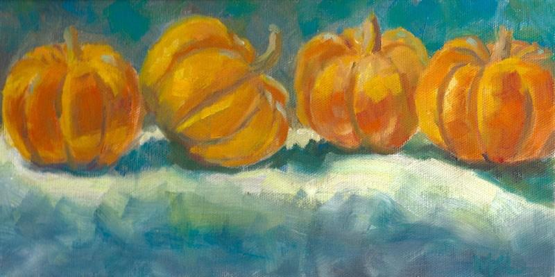 """Pumpkins in a Row"" original fine art by Marlene Lee"