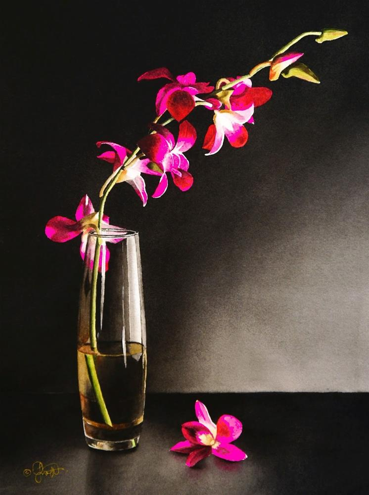 """Still Life with Orchids"" original fine art by Jacqueline Gnott, TWSA, WHS"