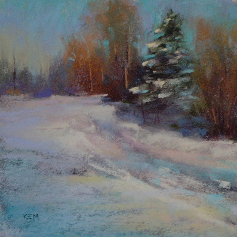 """How to Avoid Muddy Snow...A Quick Pastel Demo"" original fine art by Karen Margulis"