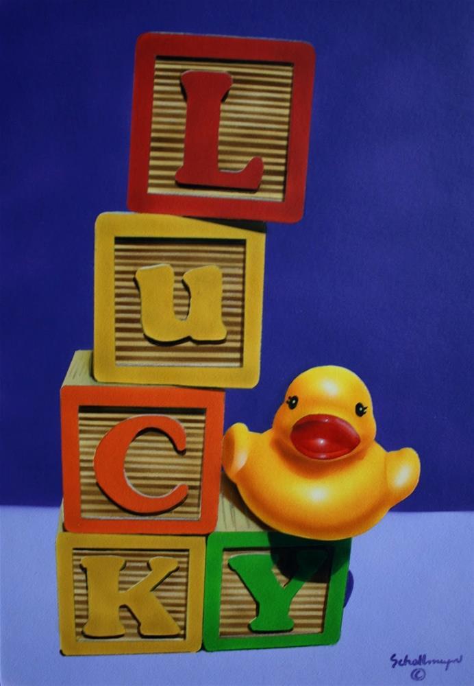 """""""Lucky Duck?"""" original fine art by Fred Schollmeyer"""