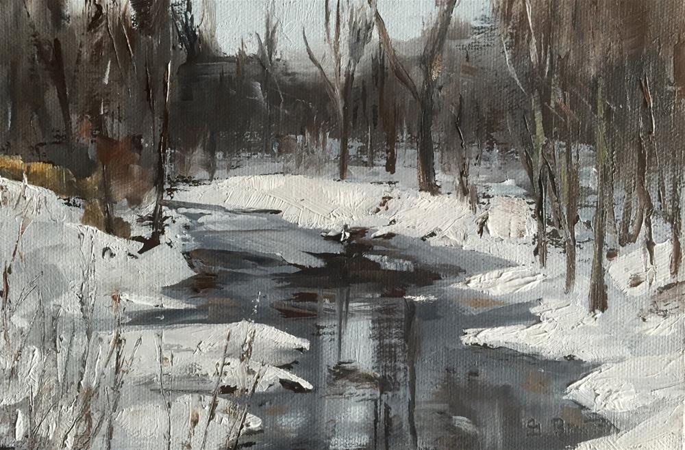 """Winter Stream"" original fine art by Gary Bruton"