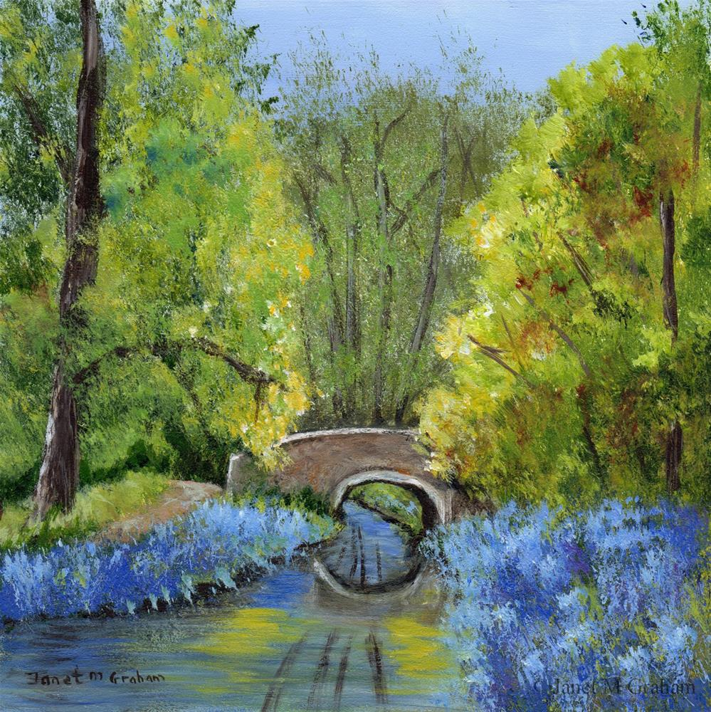 """Bluebell Bridge"" original fine art by Janet Graham"