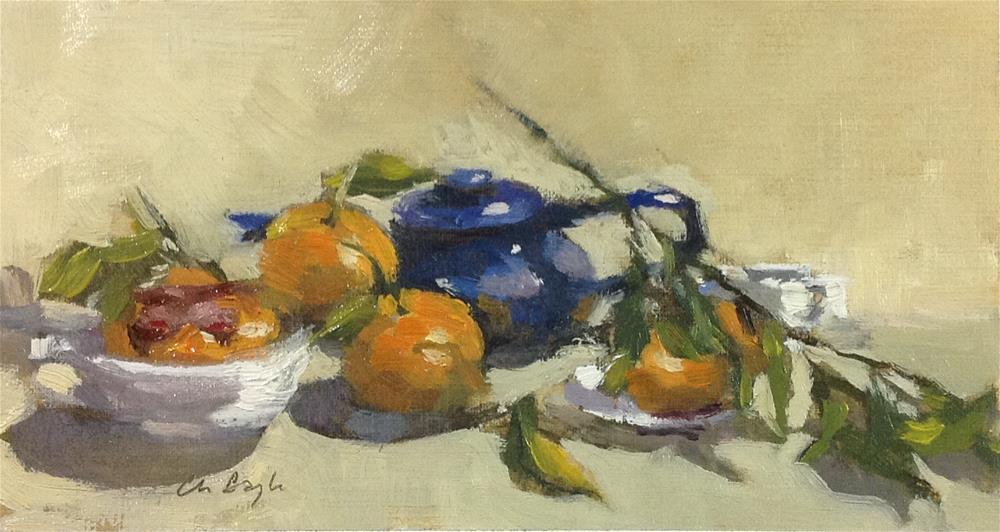 """Blue and orange still life"" original fine art by Christine Bayle"