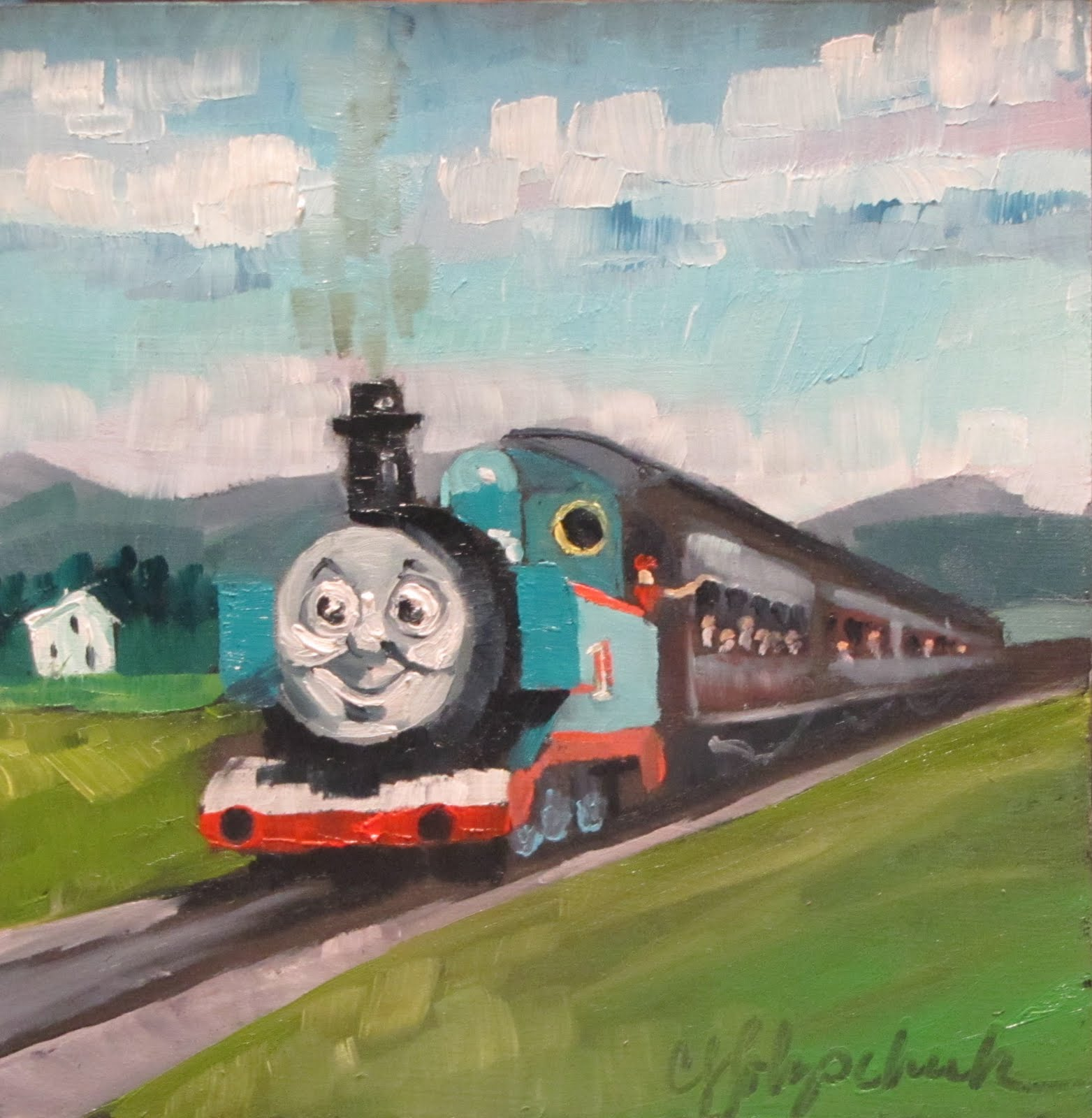 """Thomas Travels to VT   oil   6x6  #334"" original fine art by Christine Holzschuh"