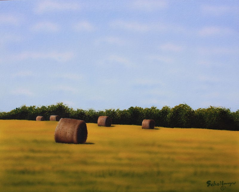 """Osage Hay Field"" original fine art by Fred Schollmeyer"