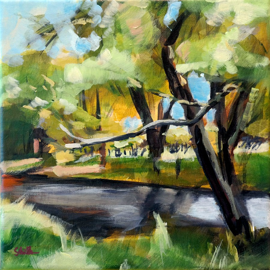 """1344 Next to a River"" original fine art by Dietmar Stiller"