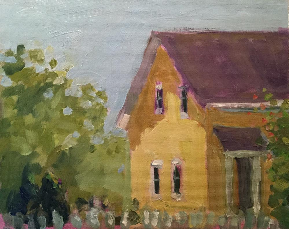 """""""Yellow House with Trellis"""" original fine art by Barb Walker"""