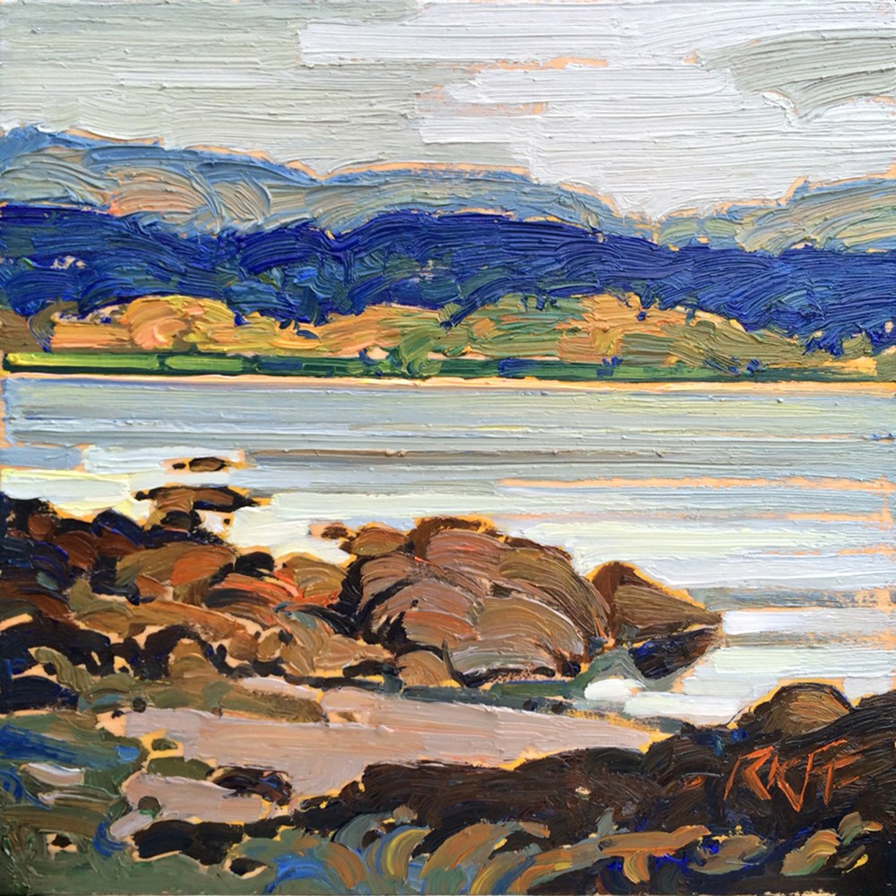 """At The Waterfront:  6x6  oil on panel"" original fine art by Ken Faulks"