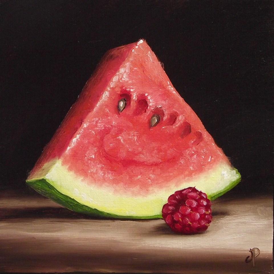 """Watermelon with Raspberry #2"" original fine art by Jane Palmer"