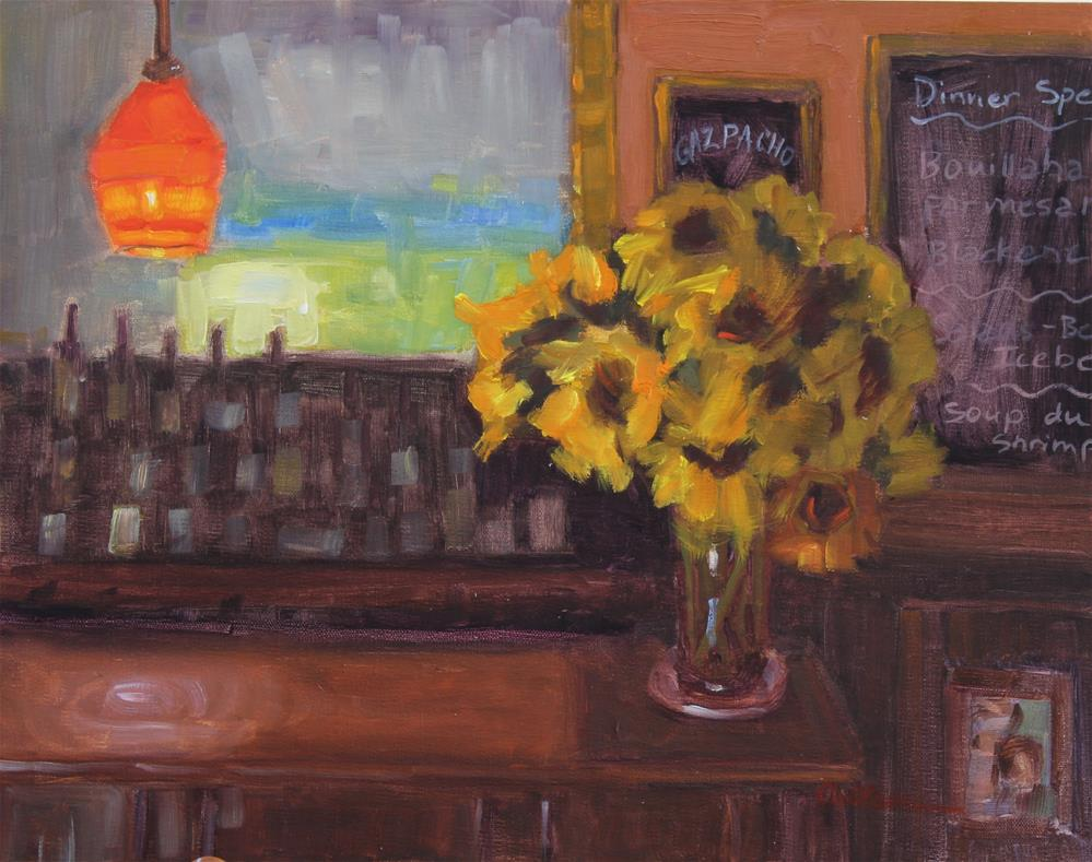 """Inside Chez Fish"" original fine art by Colleen Parker"