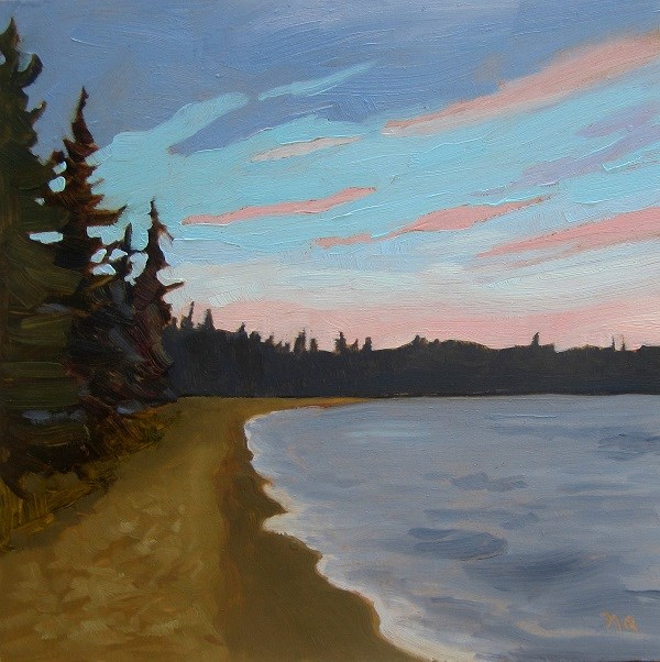 """Dusk Above Main Beach, Waskesiu"" original fine art by Nicki Ault"