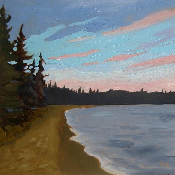 """Dusk Above Main Beach, Waskesiu"" original fine art by Nicki Ault"