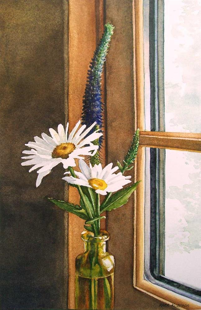 """""""Kitchen Window Daisies"""" original fine art by Kara K. Bigda"""