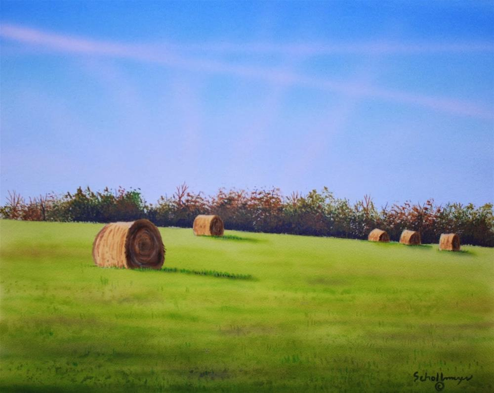 """Hay Field North of Town"" original fine art by Fred Schollmeyer"