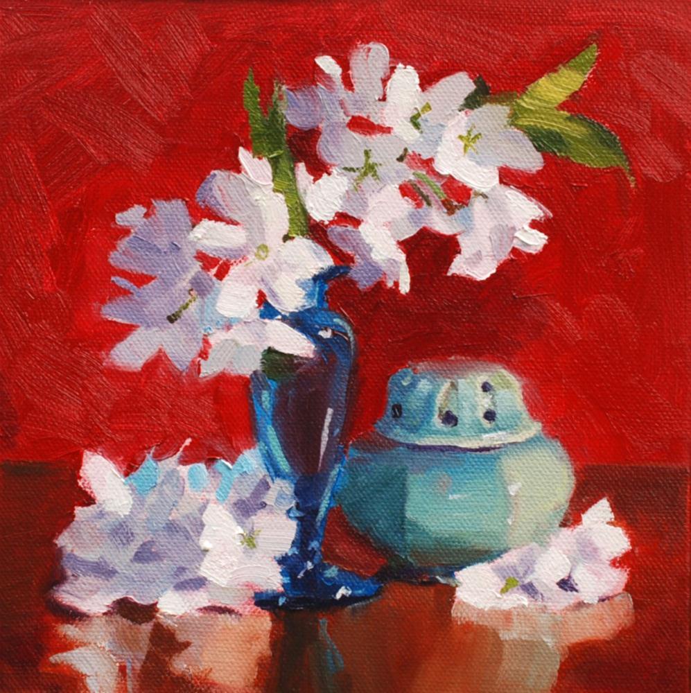 """Cherry Blosssoms on Red"" original fine art by Susan McManamen"