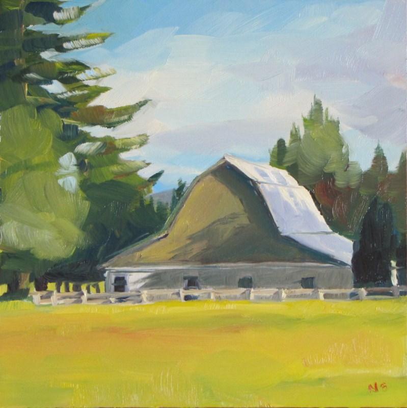 """Brown Barn"" original fine art by Nora Bergman"