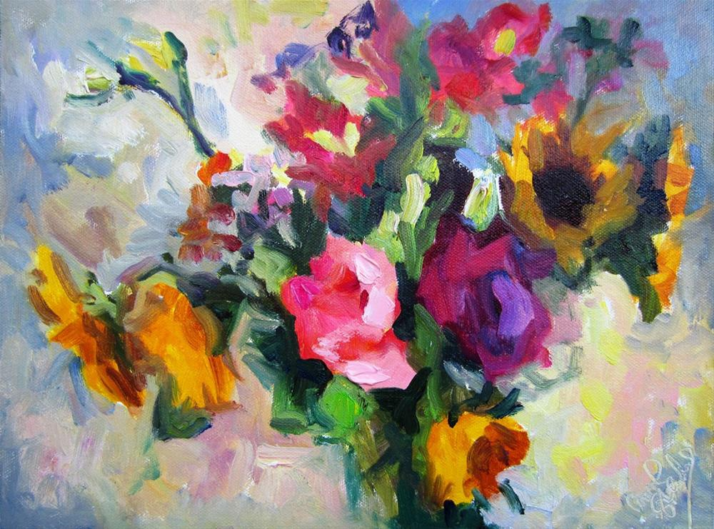 """Sunflowers and Lisianthus"" original fine art by Carol Steinberg"