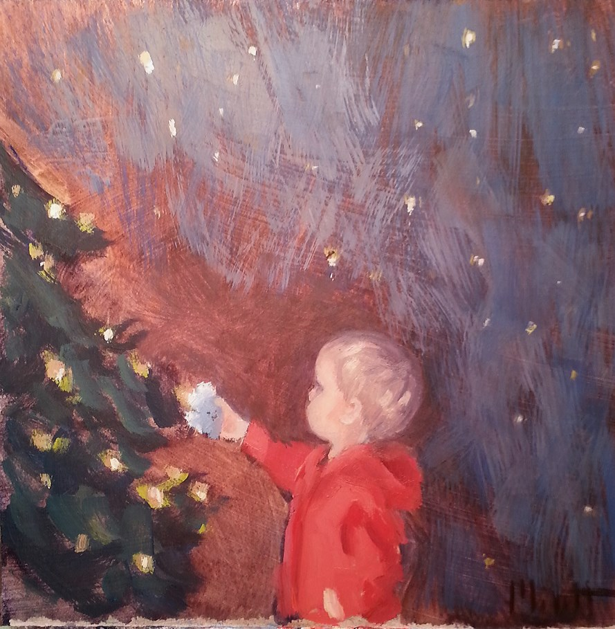 """The Magic of Christmas for Child Original Oil Painting"" original fine art by Heidi Malott"