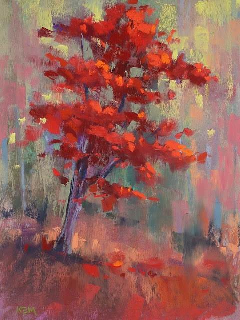 """""""My Favorite Tip for Painting Red Trees"""" original fine art by Karen Margulis"""
