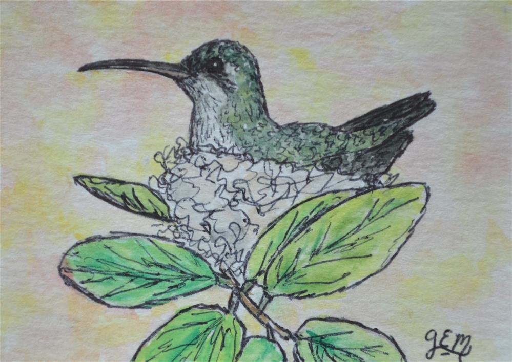 """Hummingbird Watercolor Aceo"" original fine art by Gloria Ester"