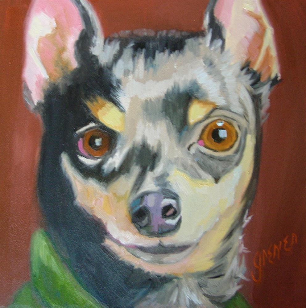 """""""Little Al the Min Pin"""" original fine art by jean grenier"""
