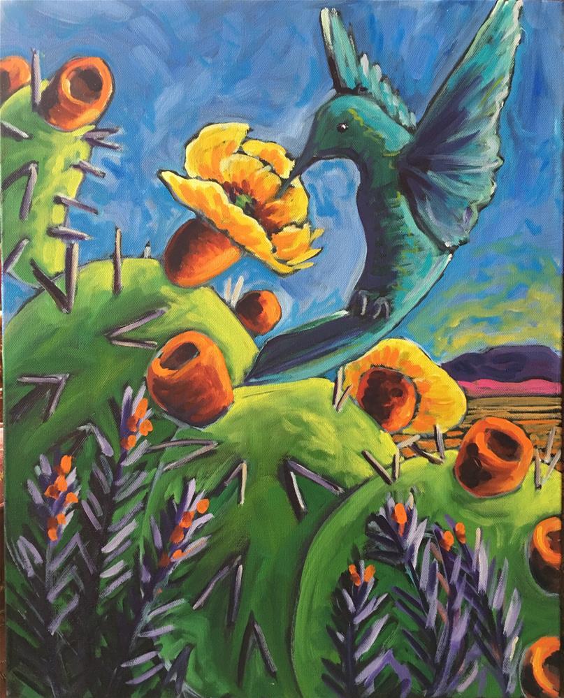 """Hummingbird and cactus bloom"" original fine art by Robyn Wellman"