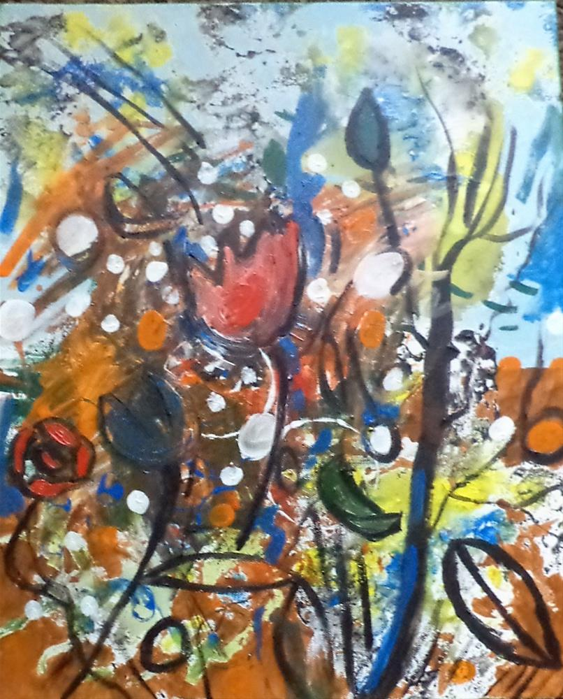 """Abstraction of flowers sky"" original fine art by tara stephanos"