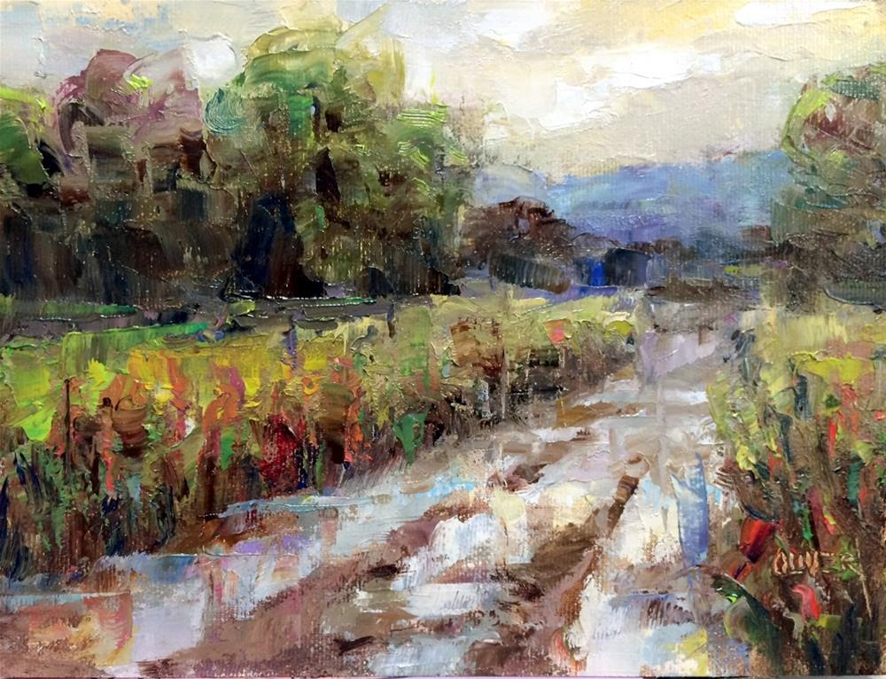 """Rain Puddles And Red Chili."" original fine art by Julie Ford Oliver"