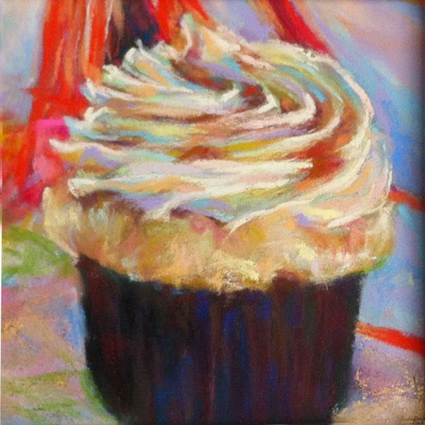 """""""SOLD - HAPPY, HAPPY! and BOSTON CREAM cupcake pastels by Susan Roden"""" original fine art by Susan Roden"""