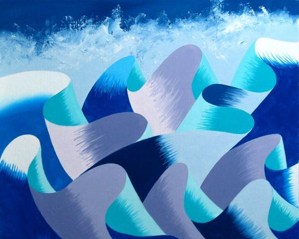 """Mark Adam Webster - Waves #2 - Abstract Geometric Ocean Landscape Oil Painting"" original fine art by Mark Webster"