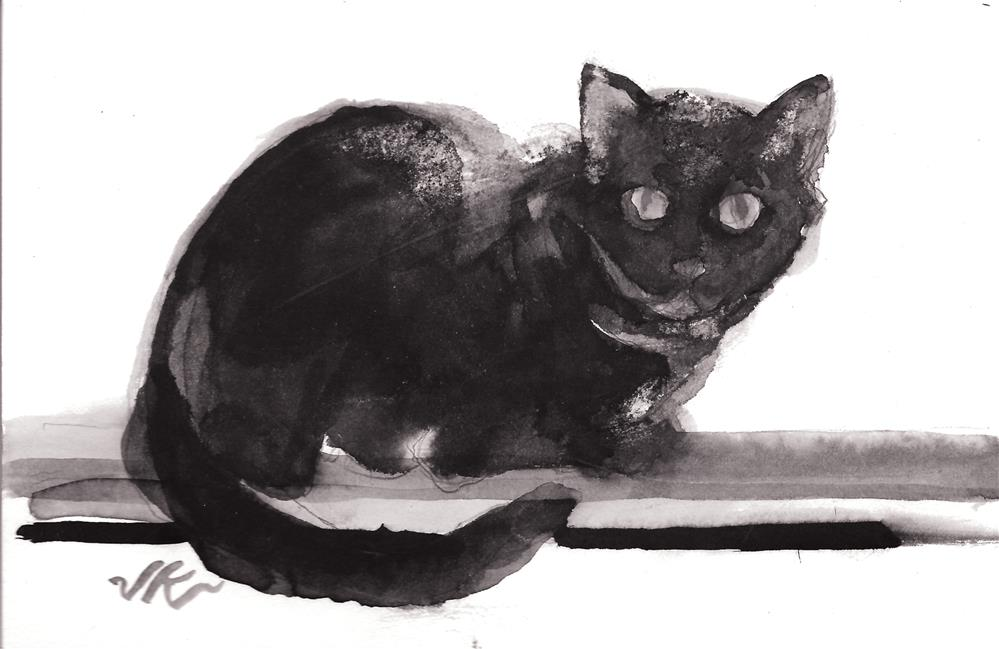 """Daily Cat 113"" original fine art by Jean Krueger"