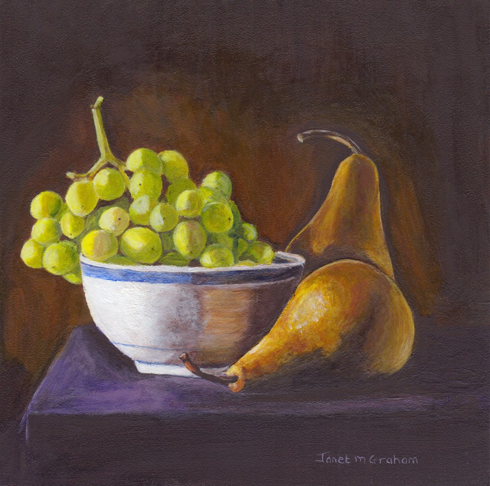 """Pears and Grapes"" original fine art by Janet Graham"