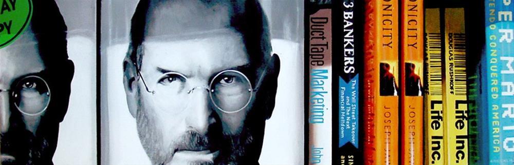"""Jobs And Books- Still Life Painting Of Steve Jobs' Biography"" original fine art by Gerard Boersma"