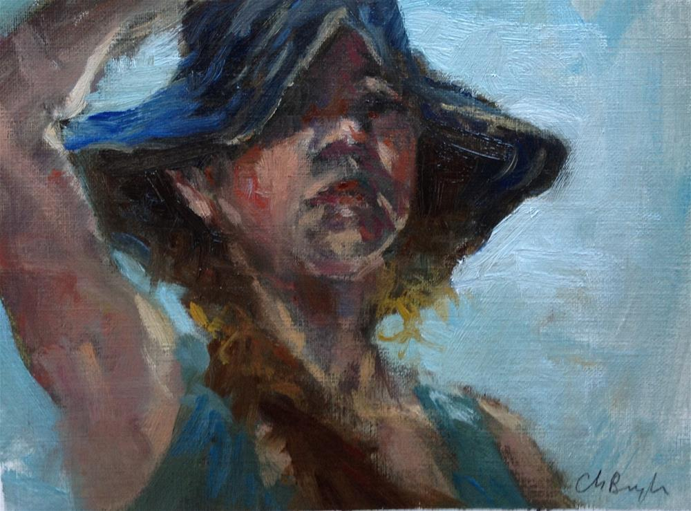 """Holding hat"" original fine art by Christine Bayle"