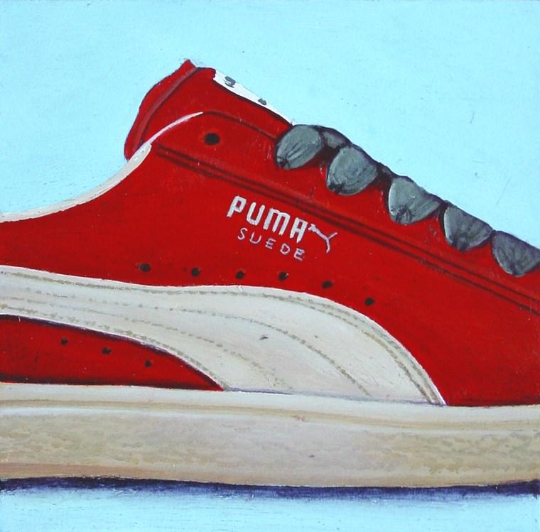 """Puma 1- Still Life Painting Of Red Suede Sneaker"" original fine art by Gerard Boersma"