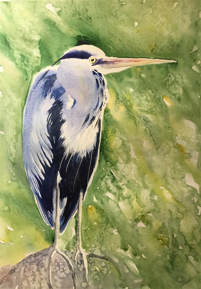 """A heron"" original fine art by Natasha Ramras"