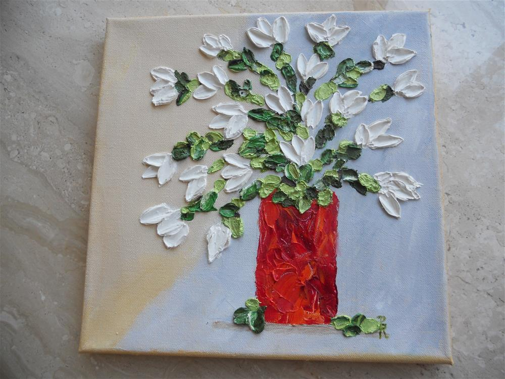 """White Tulips in Red Vase"" original fine art by Pamela Ross"