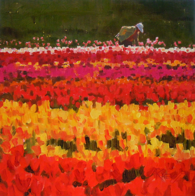 """Tulip Time   figurative,flower oil painting"" original fine art by Robin Weiss"