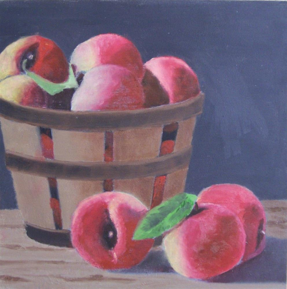 """Peach basket"" original fine art by John Marcum"