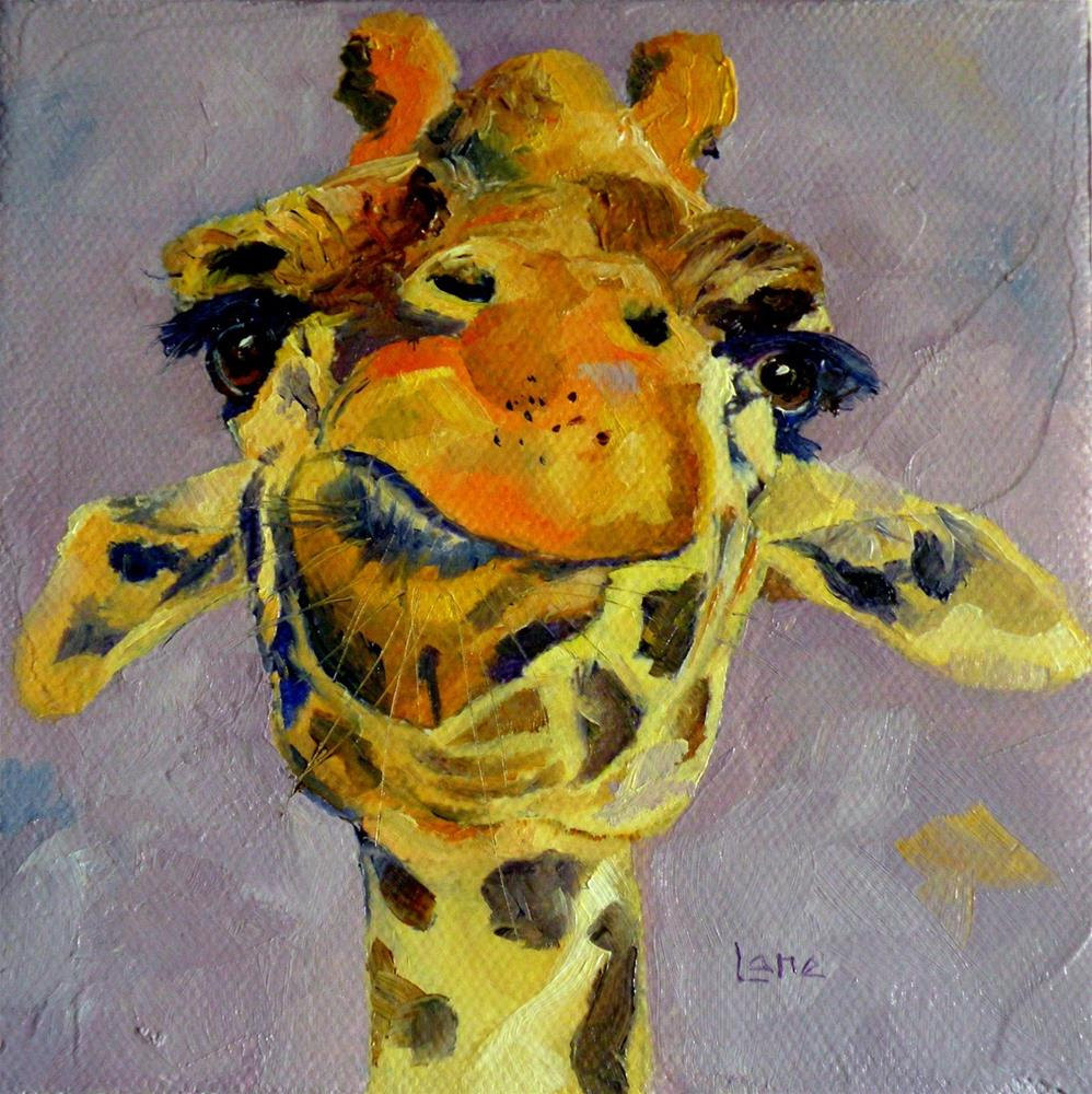 """GIRAFFE CONTEMPLATION OIL ON GALLERY WRAP CANVAS © SAUNDRA LANE FINE ART"" original fine art by Saundra Lane Galloway"