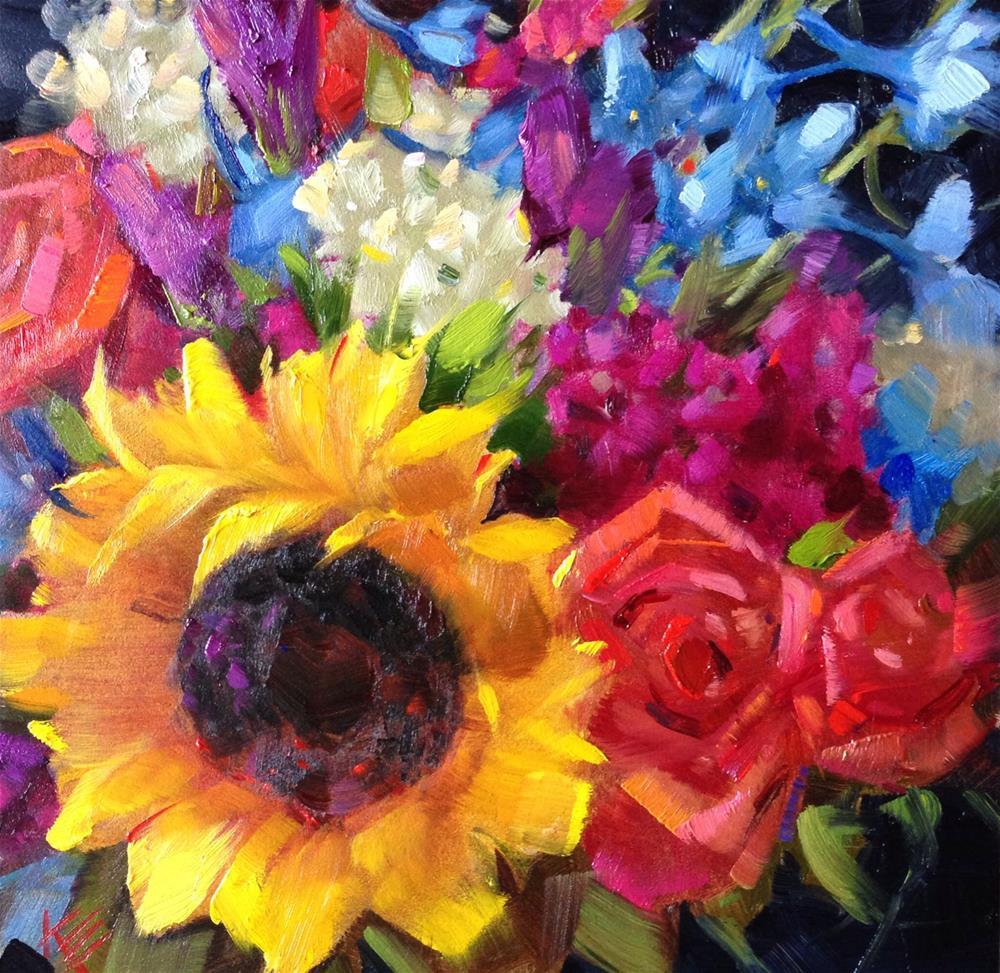 """Sunflowers & Roses bouquet"" original fine art by Krista Eaton"